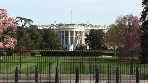 The camera zooms in to a closer look at the White House... Stock Video Footage