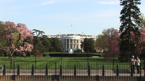 The camera zooms in for a closer look at the White House... Stock Video Footage