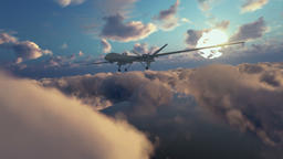 Military Drone launching missiles, above morning timelapse clouds, zoom in Animation
