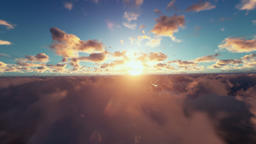 Military Drone surveilling, clouds at sunrise Animation