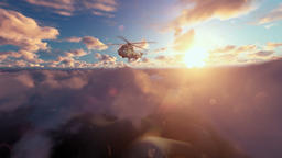 Military Helicopter above clouds at sunrise Animation