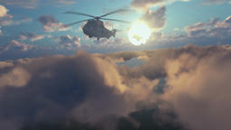 Military Helicopter surveilling above clouds at sunrise Animation