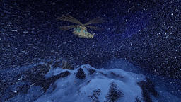 Military helicopter in snow storm, above snowy peaks Animation