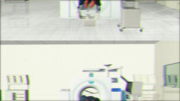 MRI Scan in Hospital room, camera pan right, Bad TV Animation