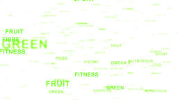 Nutrition Words forming Apple against white, Healthy Eating Animation