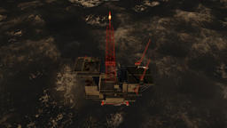 Oil Rig at sunrise in stormy ocean, cam fly Animation
