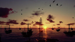 Oil rigs in ocean, time lapse sunrise, camera tilt Animation