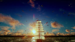 Old pirate ship sailing away, beautiful sunset with seagulls flying, tilt, sound Animation