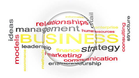 Business Strategy Management Word Cloud Text Animation With Revolving Sphere Image
