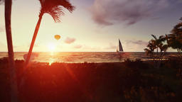 People on the beach at sunrise, air ballon and yacht passing Animation
