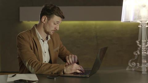 Businessman missing his deadline and checking hour on his watch Live Action