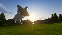Satellite Antenna on Green Meadow, timelapse sunrise to afternoon Animation