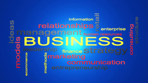 Business Strategy Management Word Cloud Text Animation Animation