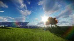 Solar pannels, timelapse clouds Animation