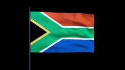 South Africa Flag Waving, Seamless Loop, Alpha Animation