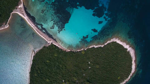 Aerial - Top down view of small, overgrown island with nice beach Live Action