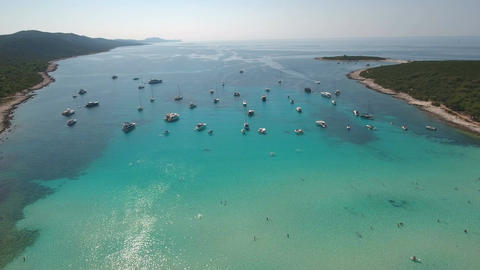Aerial - Boats, yachts and sailing boats anchored in a bay Footage