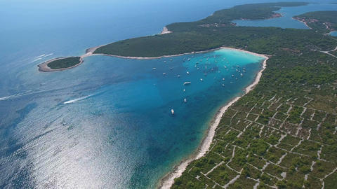 Aerial - High angle view of famous Sakarun beach on northern part of Dugi otok Live Action
