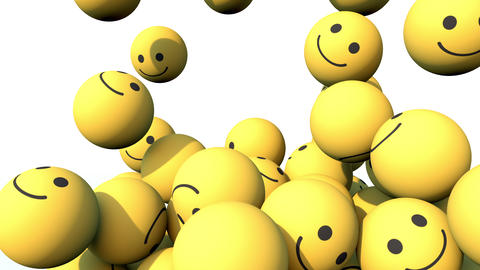 Social Media Happy Face balls falling down and piling up. 3D animation in 4K Animation