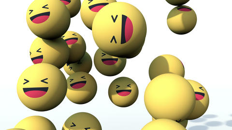 Laughing Emoji social media balls falling and pilling up. Hilarious funny 3D animation in 4K Animation