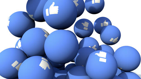LIKE button blue balls with white thumbs up falling like in a gumball machine. Close up 3D animation Animation