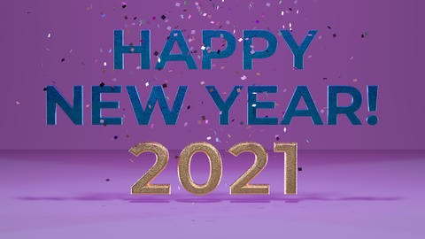 3D animation Happy New Year 2021. Great for corporate business e-cards and greetings. 3D text with Animation