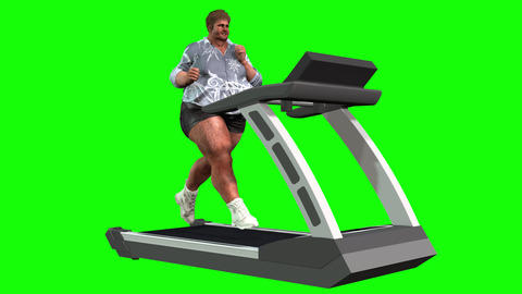 829 4K HEALTH EXERCISE WEIGHT 3D computer morth generated fat man running on treadmill to lost Animation