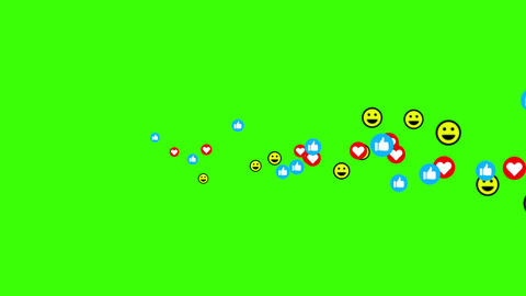 Happy face, hearts, like reaction icon, social media live video isolated on green background. Videos animados
