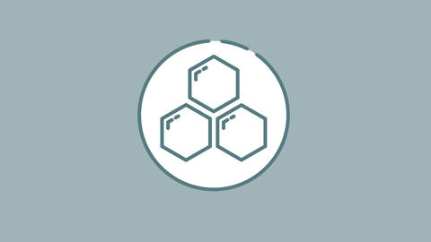 Benzene Rings line icon on the Alpha Channel Animation