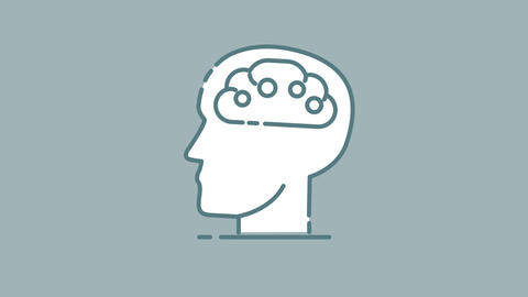 AI Brain in Head line icon on the Alpha Channel Animation