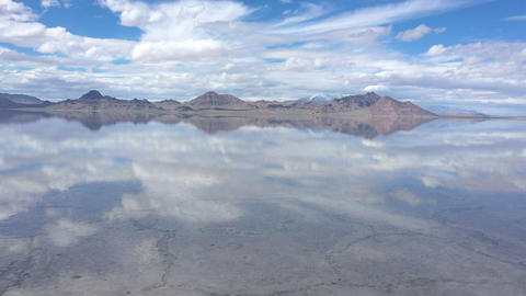 Reflection of clouds in water over the Bonneville Salt Flats Live Action