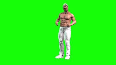 838 4K HEALTH WEIGHT 3D computer generated morph fat man exercises to reduce weight and is shows Animation