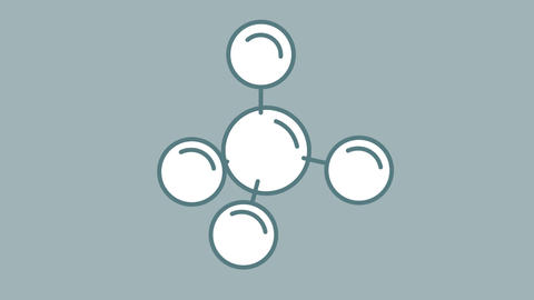 Molecule line icon on the Alpha Channel Animation