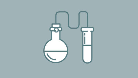 Flask and Test Tube line icon on the Alpha Channel Animation