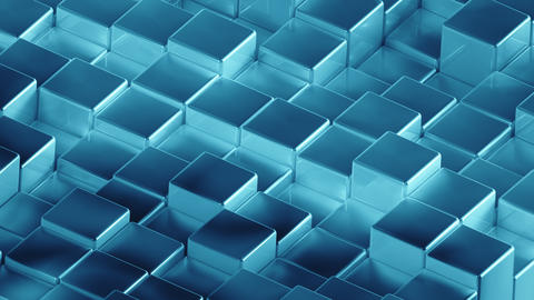 Abstract cyan metallic cubes background pattern wall. 3D Projection Mapping Animation