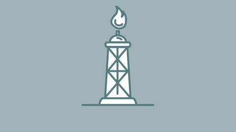 Flame oil tower line icon on the Alpha Channel Animation