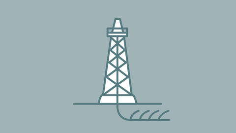 Shale Drilling line icon on the Alpha Channel Animation