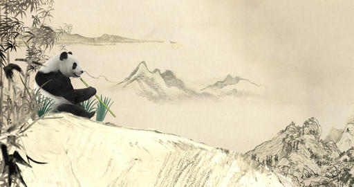 Panda Bear in Ancient Chinese Painting CG動画