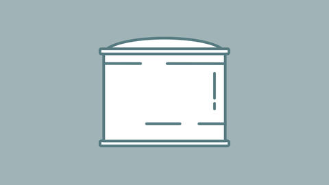 Oil Storage Tank line icon on the Alpha Channel Animation
