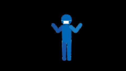 バイバイ 両手 ピクトグラム人物(マスク付き) ループアニメ CG動画