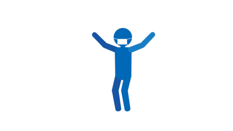 バイバイ ジャンプ両手 ピクトグラム人物(マスク付き) ループアニメ CG動画