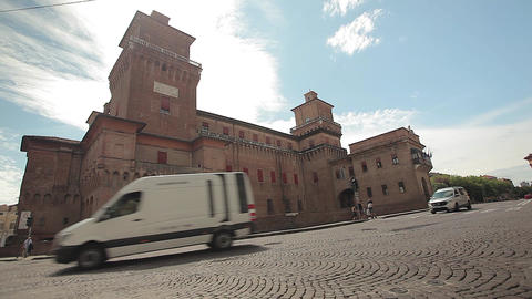 Medieval castle of Ferrara the historical Italian city Live Action