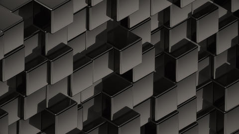 Abstract black metallic cubes background pattern wall 3D Projection Mapping Animation
