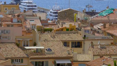 Aerial view over the city of Saint Tropez historic district- ST TROPEZ, FRANCE - Live Action