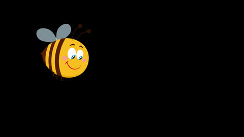 Cute Bee Cartoon Character Flying Animation