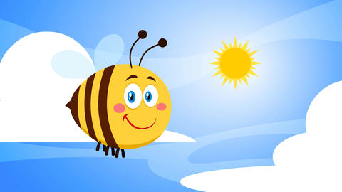 Cute Bee Cartoon Character Flying In The Sky Animation