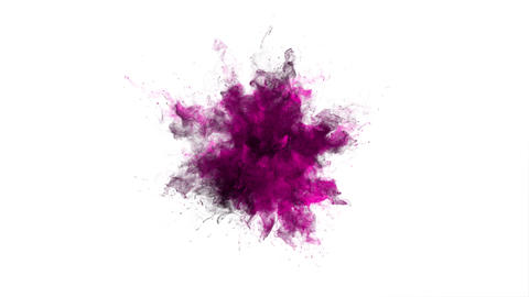 Color Burst colorful pink smoke powder explosion fluid ink particles alpha matte Animation