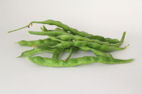 Fresh green beans isolated on a white background フォト