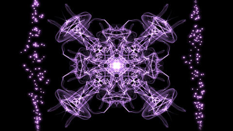 Purple magic fractal patterns in movement corresponding to the rhythm of CG動画