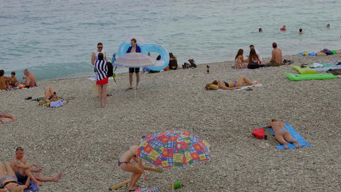 The Beaches and Beach Clubs in Nice - CITY OF NICE, FRANCE - JULY 10, 2020 Live Action